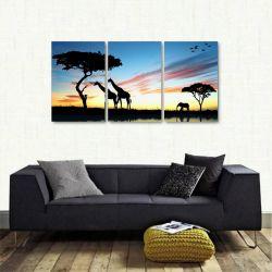 Quadro Decorativo Africa Paisagens Natureza 3 peças 120x60 cm