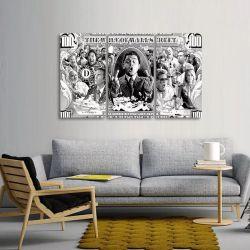 Quadro Dólar Lobo Wall Street Preto E Branco Mosaico 3 Peças