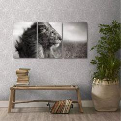 Quadro Decorativo Leão Preto E Branco Em Tecido 3 Peças