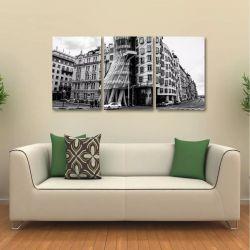 Quadro Decorativo Cidade Preto E Branco Em Tecido 3 Peças
