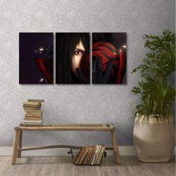 Quadro Decorativo Uchiha Madara Naruto Em Tecido 3 Peças