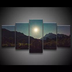 Quadro Decorativo 129x63 Sala Quarto Por Do Sol Anoitecer 1