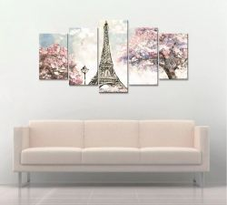 Quadro Decorativo 129x63 Sala Quarto Torre Eiffel Paris Kit