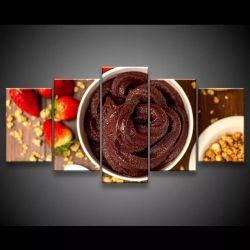 Quadro Decorativo 129x63 Tigela De Açaí Morangos Alimentos 1