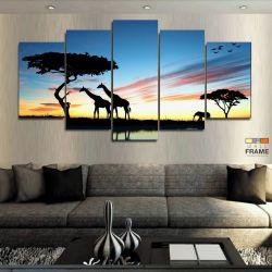 Quadro Decorativo África Paisagens 63x130 em Tecido