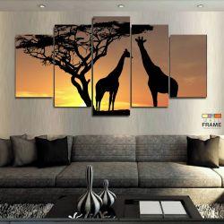 Quadro Decorativos África Paisagens 5 peças 63x130 em tecido