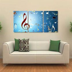 Quadro Decorativo Notas Musicais Em Tecido 3 Peças