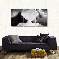 Quadro Decorativo Lobos Preto E Branco Em Tecido 3 Peças