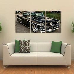 Quadro Decorativo Carro Antigo Retro Em Tecido 3 Peças