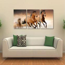 Quadro Cavalos Decorativo Paisagem Em Tecido 3 Peças