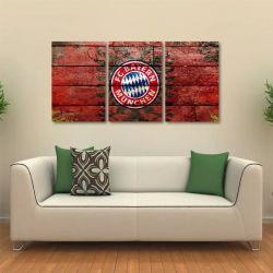 Quadro Decorativo Bayern Munchen Tela Em Tecido 3 Peças 1Res