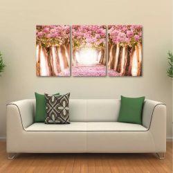 Quadro Decorativo Paisagem Flores Rosas Em Tecido 3 Peças 1R