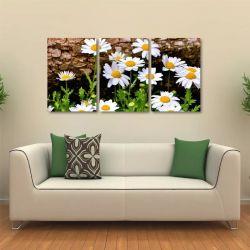 Quadro Decorativo Paisagem Flores Tela Em Tecido 3 Peças 1Re