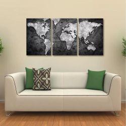 Quadro Decorativo Mapa Mundi Money Black Em Tecido 3 Peças 1
