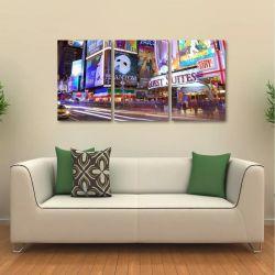 Quadro Decorativo Times Square New York Em Tecido 3 Peças 1R