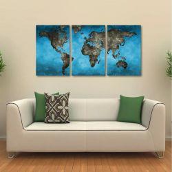 Quadro Decorativo Mapa Mundi Vintage Blue Em Tecido 3 Peças
