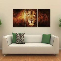 Quadro Decorativo Leão Moderno Interiores Em Tecido 3 Peças