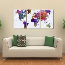 Quadro Decorativo Mapa Mundi Colorido Em Tecido 3 Peças 1Res