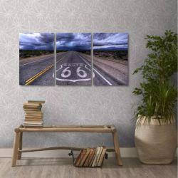 Quadro Decorativo Route 66 Estrada Em Tecido 3 Peças