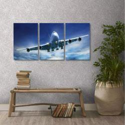 Quadro Decorativo Avião Aviação Céu Em Tecido 3 Peças