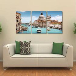 Quadro Decorativo Veneza Paisagem Interiores Tecido 3 Peças