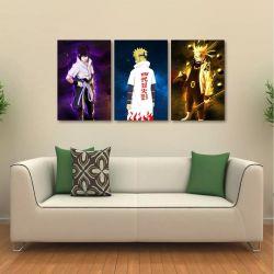Quadro Decorativo Naruto Sasuke Minato Em Tecido Kit 3 Peças