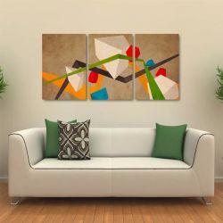Quadro Decorativo Abstrato Colorido Em Tecido 3 Peças