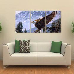 Quadro Decorativo Águia Paisagem Animais Em Tecido 3 Peças 1