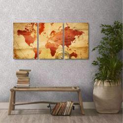 Quadro Decorativo Mapa Mundi Retro Interiores Tecido 3 Peças