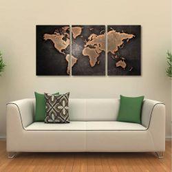Quadro Decorativo Mapa Mundi Interiores Em Tecido 3 Peças 1R