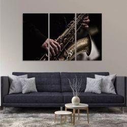 Quadro Saxofone Vintage Música Instrumentos Em Tecido 3 Peça