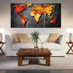 Quadro Decorativo Mapa Mundi Black 3 peças 120x60 em Tecido