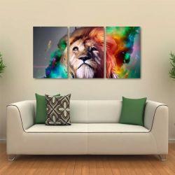 Quadro Decorativo Leão Moderno Colorido Em Tecido 3 Peças 1R