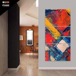Quadro Decorativo Pintura Abstrato Em Tecido 120 x 60 cm para Hall de Entrada