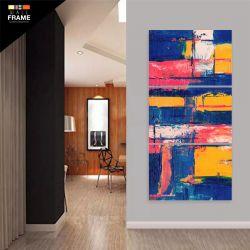 Quadro Decorativo Pintura Abstrata Em Tecido 120 x 60 para Hall de Entrada