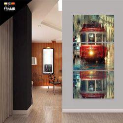 Quadro Decorativo Pintura Bonde Vertical 120x60 3 Peças para Hall de Entrada