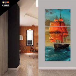 Quadro Decorativo Pintura Navio Vertical 120x60 3 peças para Hall de Entrada