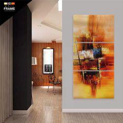 Quadro Decorativo Abstrato Vertical 120x60 3 Peças para Hall de Entrada