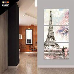Quadro Decorativo Pintura Torre Eiffel Vertical 120x60 para Hall de Entrada