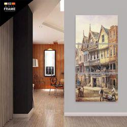 Quadro Decorativo Pintura Casa Antiga Vertical 120x60 para Hall de Entrada