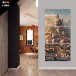 Quadro Decorativo Pintura Antiga Vertical 120x60 3 Peças para Hall de Entrada