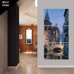 Quadro Decorativo Cidade Vertical Para Sala Hall 3 Peças para Hall de Entrada