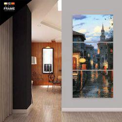 Quadro Decorativo Pintura Cidade Vertical 120x60 3 Peças para Hall de Entrada