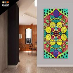 Quadro Mandala Para Sala Quarto Hall Colorido 3 Peças 120x60 para Hall de Entrada