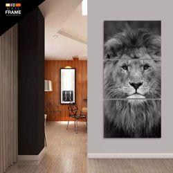 Quadro Leão Em Preto E Branco Moderno Mosaico 3 Peças 120x60 para Hall de Entrada