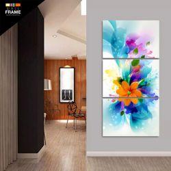 Quadro Flor Abstrata Para Sala Quarto Hall Em Tecido 120x60 para Hall de Entrada
