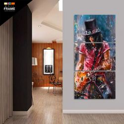 Quadro Decorativo Slash Guns N Roses Rock 120x60 Em Tecido para Hall de Entrada