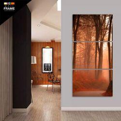 Quadro Decorativo Paisagem Árvores 120x60 Grande Em Tecido para Hall de Entrada