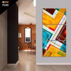 Quadro Abstrato Geométrico Vertical Para Sala Hall 3 Peças para Hall de Entrada