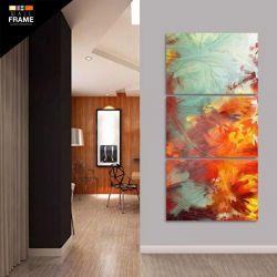 Quadro Decorativo Flores Abstratas Sala Quarto Hall 3 Peças para Hall de Entrada